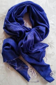 Fein-zarter Kaschmir-,Pashmina-Schal, klassisches Paisley, mit Changiereffekt, blau - flieder