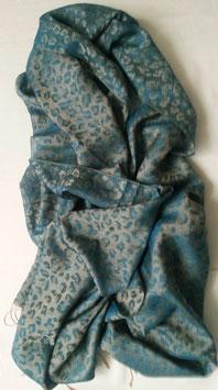 Fein-zarter Kaschmir-, Pashmina-Schal mit Leomuster in vielseitig kombinierbarem Jeans -Blau