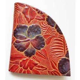 Geldbörse, extravagantes Design, Tropic Blumen, geprägtes Leder, von déqua, rot -bunt, schwarz -bunt