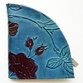 Rosen - Geldbörse, extravagantes Design, déqua, blau -bunt und schwarz -bunt