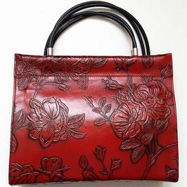 Designer Schultertasche déqua Rosen, Baguette im City- und Shopper- Format, klassisch rot, burgund, schwarz