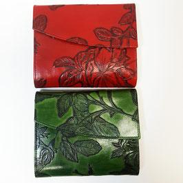 Rosen - Geldbörse classic von déqua, geprägtes Leder, rot, grün, schwarz