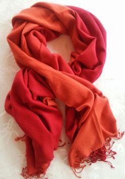 Flauschiger Kaschmir-, Pashmina-Schal im XL-Format, Farbverlauf, orange - rot