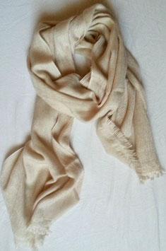 Superweicher flauschiger Kaschmir- Schal in erhaben gewebtem Rautenmuster, offwhite