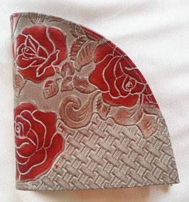 Rosen - Geldbörse, extravagantes Design, geprägtes Leder, von déqua, grau -rot