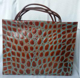 Designer Handtasche, Shopper zum Umhängen, geprägtes Leder, Kroko, Rose, Eichenblatt, schwarz -silber, cognac- türkis, schwarz