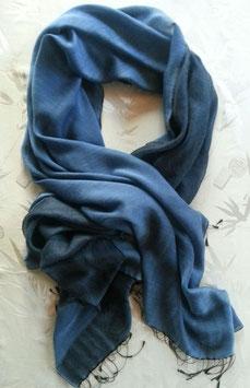 Hauchzarter Wende- Kaschmir-, Pashmina-Schal, seidig glatt/fluffig dunkler, mittleres Blau