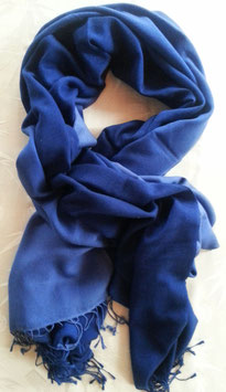 Flauschiger Kaschmir-, Pashmina-Schal im XL-Format, Farbverlauf, mittleres Blau, Royalblau