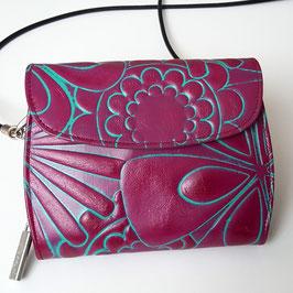Geldbörse/ Minibag von déqua, geprägtes Leder, Blumen farbig abgesetzt, rot -pink, erdbeer-türkis, fuchsia-türkis