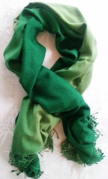 Flauschiger Kaschmir-, Pashmina-Schal im XL-Format, Farbverlauf, grün
