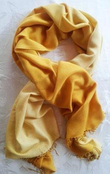 Flauschiger Kaschmir-, Pashmina-Schal im XL-Format, Farbverlauf, gelb