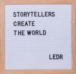 LEDR – Letterbord 30x30cm – inclusief 290 letters en cijfers – Eiken frame – wit vilt