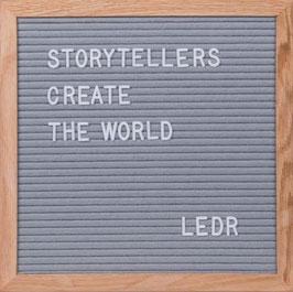 LEDR – Letterbord 30x30cm – inclusief 290 letters en cijfers – eiken frame – grijs vilt
