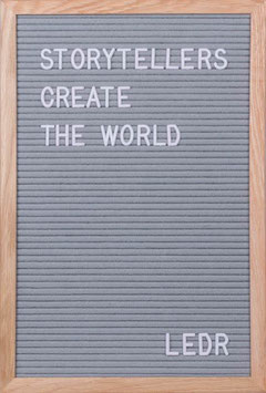 LEDR – Letterbord 30x45cm – inclusief 290 letters en cijfers – eiken frame – grijs vilt
