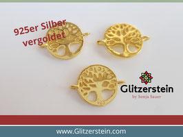 Schmuckverbinder Lebensbaum 925 Silber vergoldet