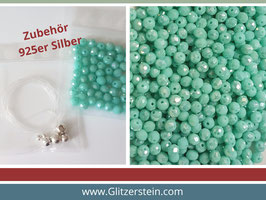 DIY Armband Basic Set Glasperlen 3x4  mm (mint-grün)