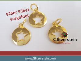 Anhänger Stern 925 Silber vergoldet