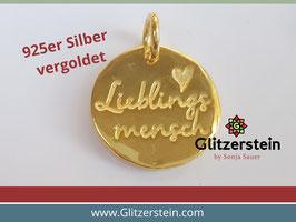 Anhänger Lieblingsmensch 925 Silber vergoldet