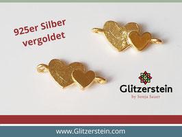 Schmuckverbinder Doppelherz 925 Silber vergoldet