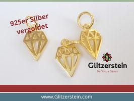 Anhänger Diamant 925 Silber vergoldet