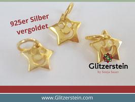 Anhänger Lachender Stern 925 Silber vergoldet