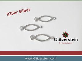 Schmuckverbinder Christlicher Fisch/ Ichthys 925 Silber