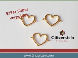 Schmuckverbinder Herz offen 925 Silber vergoldet