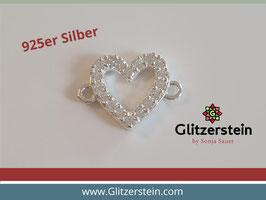 Schmuckverbinder Herz 925 Silber mit Zirkonia