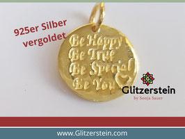 Anhänger Be Happy 925 Silber vergoldet