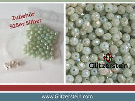 DIY Armband Basic Set Glasperlen 3x4  mm (hell-grau-grün)