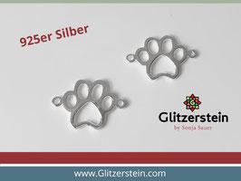 Schmuckverbinder Tatze/ Pfote 925 Silber