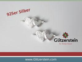 Schmuckverbinder Doppelherz 925 Silber