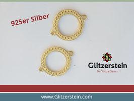 Schmuckverbinder Kreis gehämmert 925 Silber vergoldet