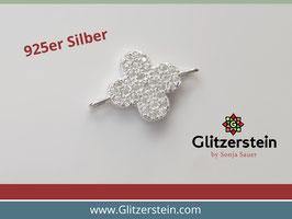 Schmuckverbinder Blume 925 Silber mit Zirkonia