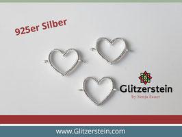 Schmuckverbinder Herz offen 925 Silber glänzend