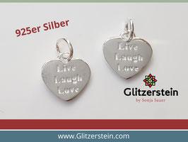 Herz Anhänger Live, Laugh, Love 925 Silber