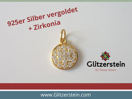 Anhänger rund mit Zirkonia 925 Silber vergoldet