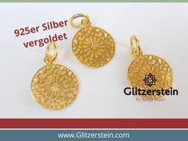 Anhänger Mandala 925 Silber vergoldet