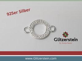 Schmuckverbinder Offener Kreis 925 Silber mit Zirkonia