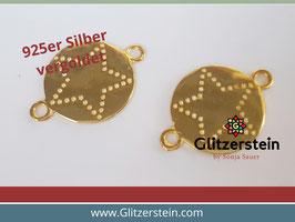 Schmuckverbinder Stern 925 Silber vergoldet
