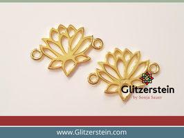 Schmuckverbinder Lotusbluete 925 Silber vergoldet