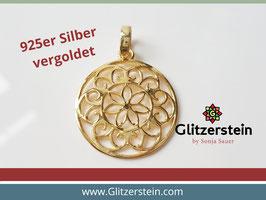 Anhänger Mandala groß 925 Silber vergoldet