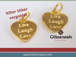 Anhänger Live Laugh Love 925 Silber