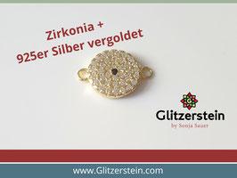Schmuckverbinder Rund 925 Silber vergoldet mit Zirkonia