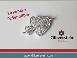 Schmuckverbinder Doppelherz mit Zirkonia 925 Silber