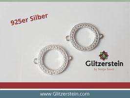 Schmuckverbinder Kreis gehämmert 925 Silber