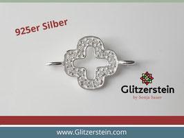 Schmuckverbinder Kreuz 925 Silber mit Zirkonia