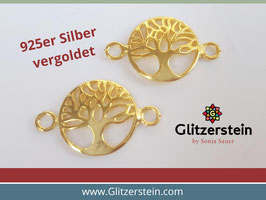 Schmuckverbinder Lebensbaum 925 Silbervergoldet