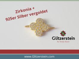 Schmuckverbinder Blume 925 Silber vergoldet mit Zirkonia