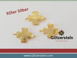 Schmuckverbinder Kleeblatt 925 Silber vergoldet